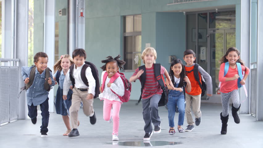 Jumping Children go to school 1