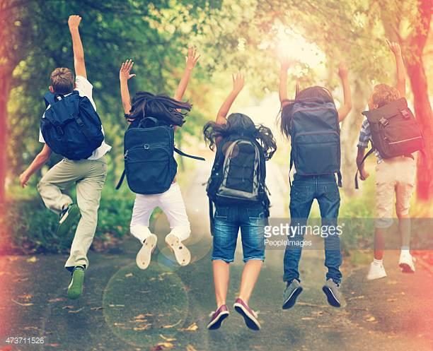 Jumping Children go to school 2