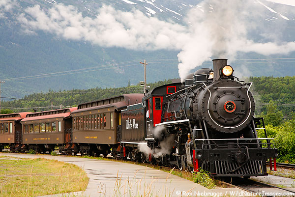 Historic steam engine from White Pass Yukon Route Railroad Skagway, Alaska.